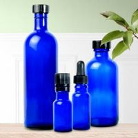 Glass Bottle With Cap Cobalt Blue 1/2 Oz aromatherapy diffusers