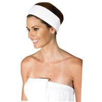 Betty Dain Spa Terry Cloth Headband with Adjustable Velcro - White